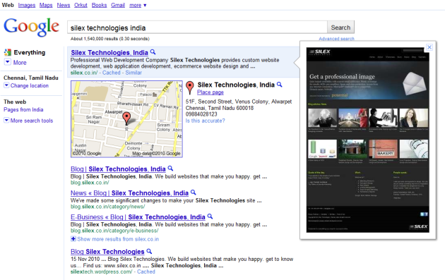 Google Silex Technologies India Search Preview