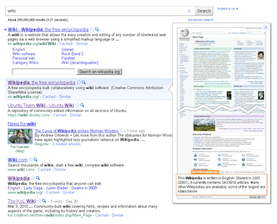 Google Instant Previews and SEO