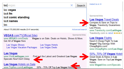 Las Vegas On Google Instant - Example